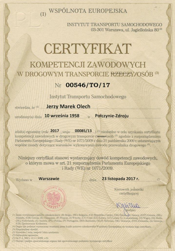 Certyfikat kompetencji zawodowych Mewa Bus Pyrzyce