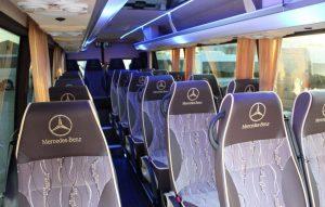 Fotele pasażerów w Mewa Bus