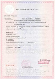 Zezwolenie na wykonywanie przewozów dla Mewa Bus Pyrzyce